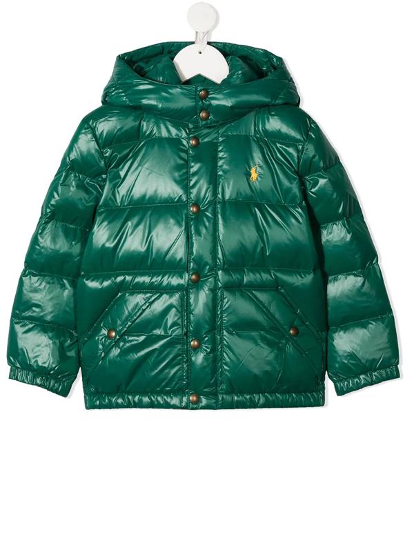 Ralph Lauren Kids' Embroidered Logo Puffer Jacket In Green