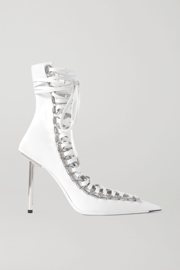 Balenciaga Corset Patent-leather Heeled Ankle Boots In White