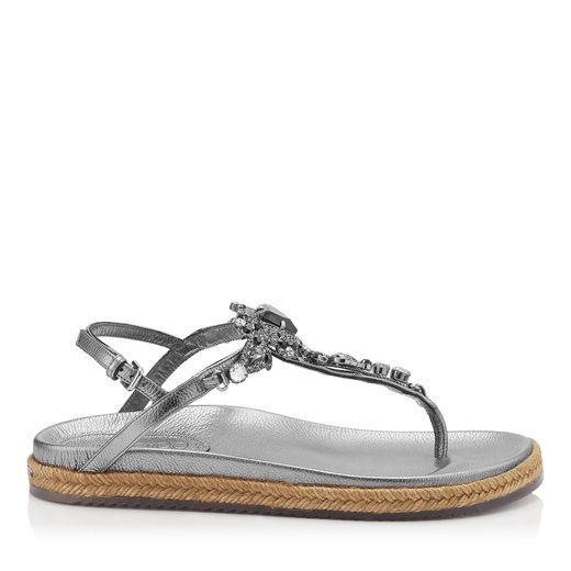 519f8716dc43fa Jimmy Choo Neal Flat Steel Mix Metallic Grainy Leather Sandals With Jewel  Piece