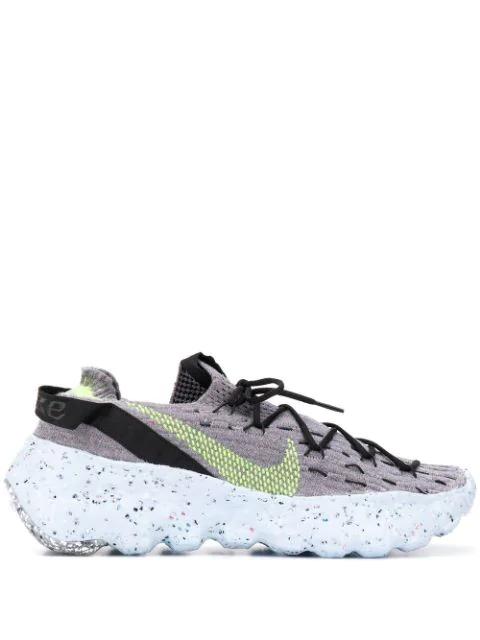 Nike Space Hippie04 Flyknit Sneakers In Volt Gray-pink In Grey/ Volt/ Black/ Smoke Grey
