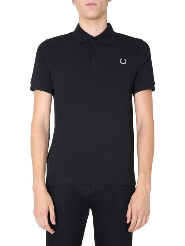 Raf Simons Cotton Piqué Polo Shirt In Black