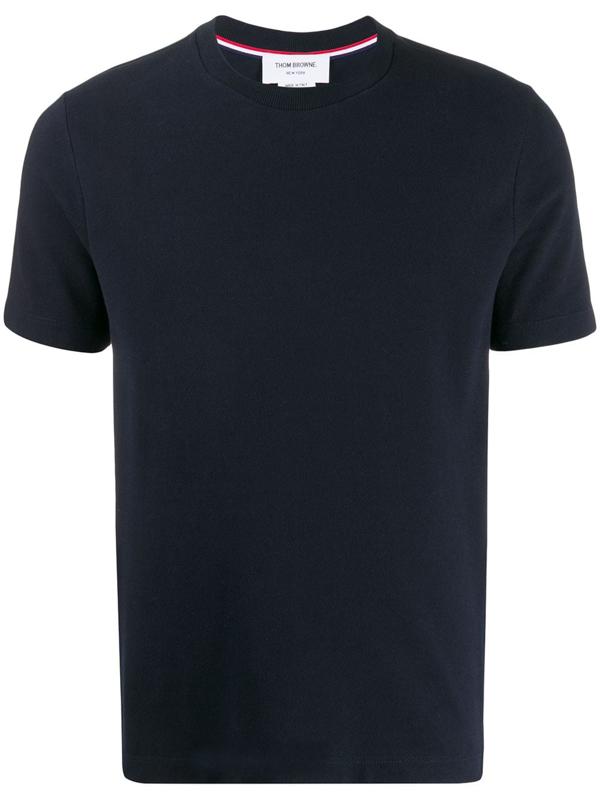 Thom Browne 4-bar Back Stripe Pique T-shirt In Blue
