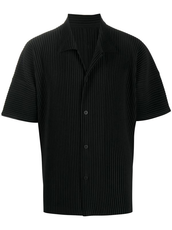 Pleats Please Issey Miyake Technical-pleated Cuban-collar Shirt In Black