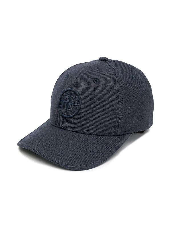 Stone Island Junior Kids' Embroidered-logo Cap In Blue