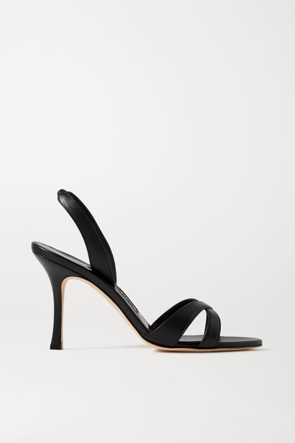Manolo Blahnik Callasli Leather Slingback Sandals In Black