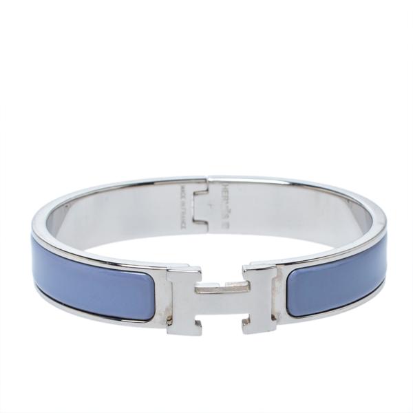 Pre-owned Hermes Hermès Clic H Enamel Palladium Plated Narrow Bracelet Gm In Purple