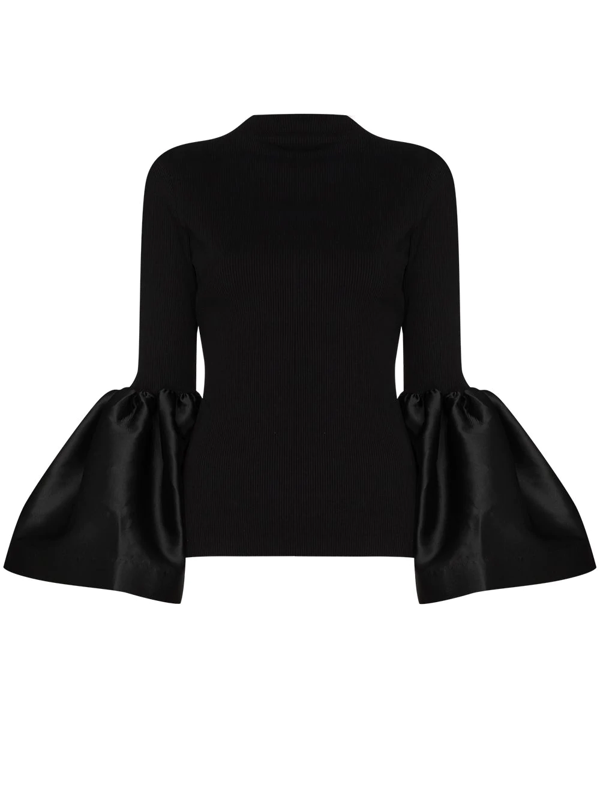 Marques' Almeida Black Turtleneck Puff Sleeve Top