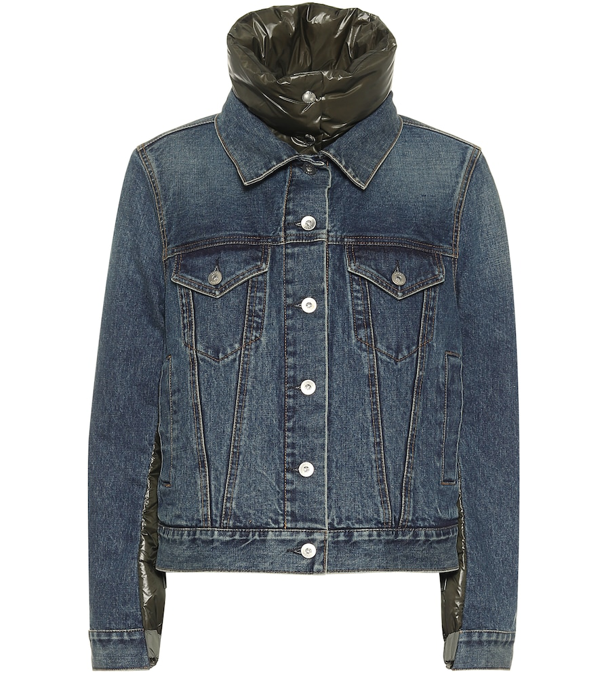 Sacai Denim-front Padded Puffer Jacket In Army In Blue