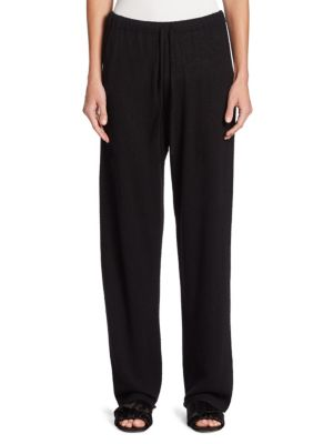 The Row Pepita Cashmere And Silk-Blend Pants In Black