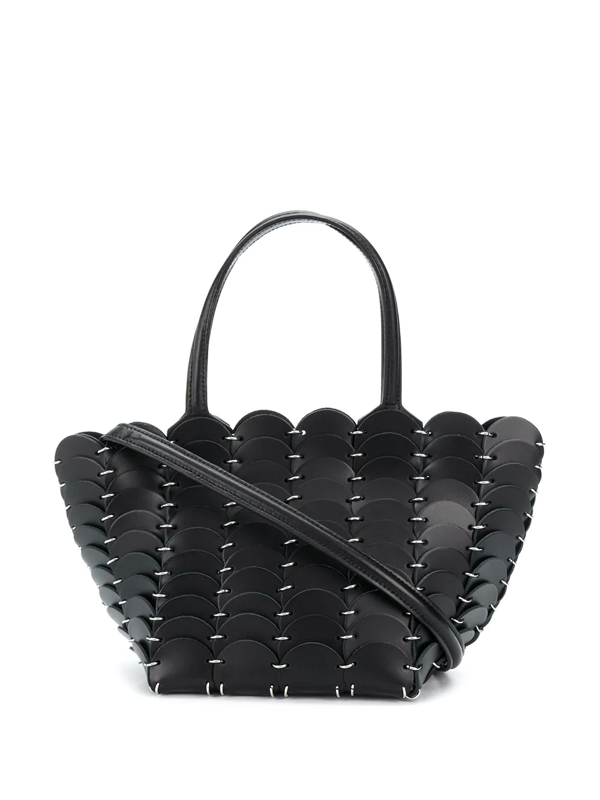 Paco Rabanne Mini Pacoio Cabas Leather Tote In Black
