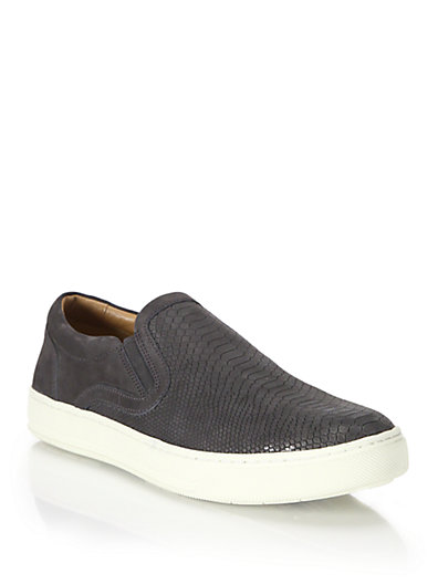 Vince Ace Maya Textured Calf Leather Slip-ons In Navy