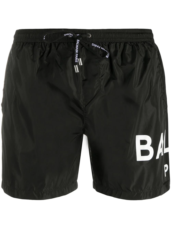 Balmain Logo Print Swim Shorts In Black