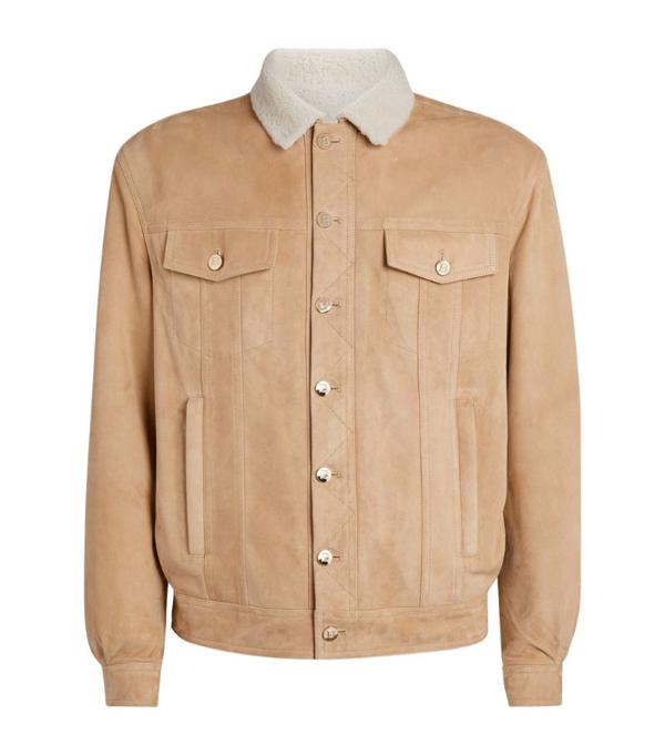 Balmain Logo Suede And Shearling Jacket In Beige Foncè