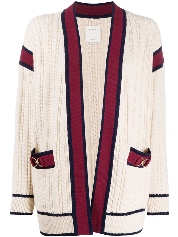 Sandro Cable-knit Wool Cardigan In Neutrals