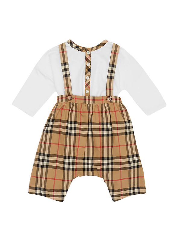 Burberry Babies' Bertie Organic Cotton Bodysuit & Check Overalls Set In White