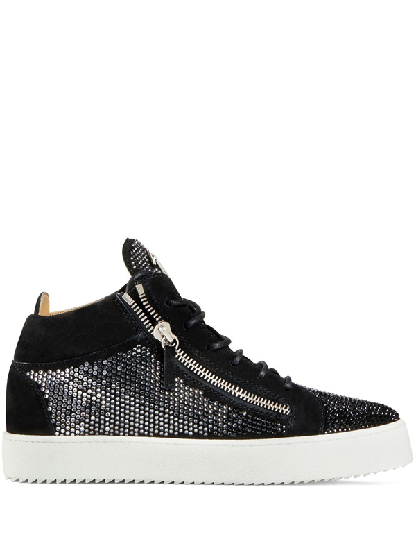 Giuseppe Zanotti Kriss Crystal-embellished Suede High-top Trainers In Black