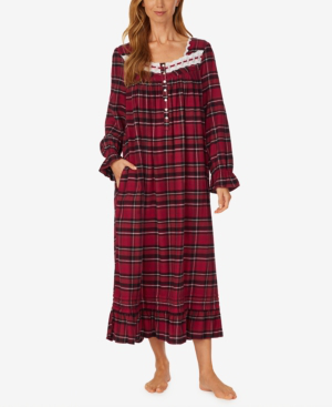 Eileen West Berry Plaid Ballet Flannel Nightgown In Multi Pld