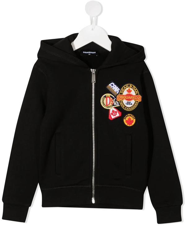 Dsquared2 Kids' Zip-up Sweatshirt Hoodie W/ Patches In Black
