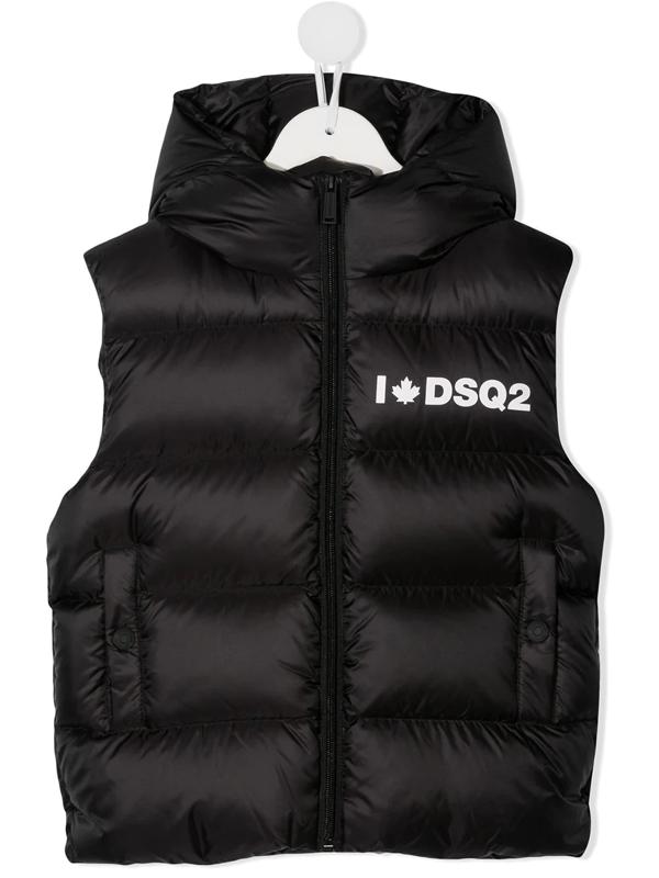 Dsquared2 Kids' Black Vest For Boy With Logo