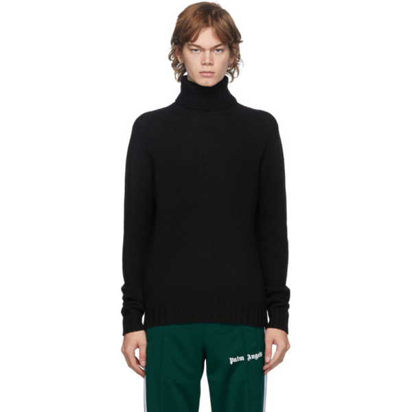 Palm Angels Rec Logo Turtle Neck Sweater In Black/white