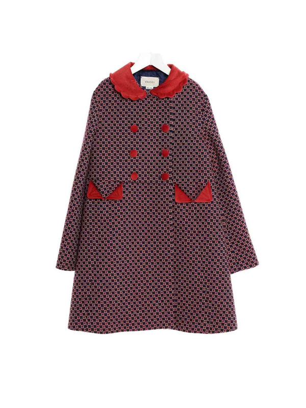 Gucci Kids' All Over Logo Coat In Blue And Red In Multicolour