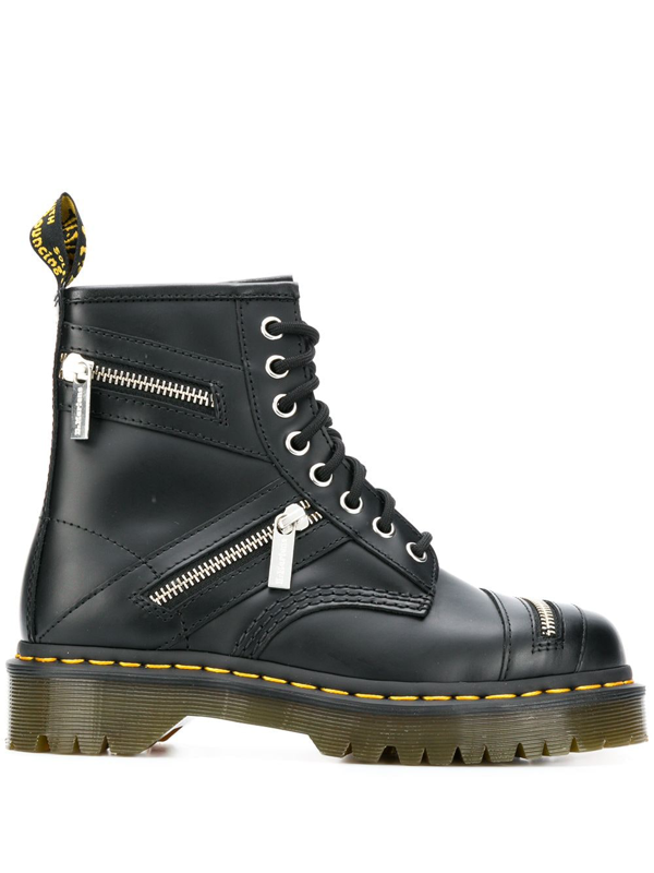 Dr. Martens Leather Boots In Black