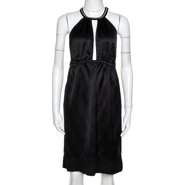 Pre-owned Stella Mccartney Black Satin Embellished Halter Neck Dress S