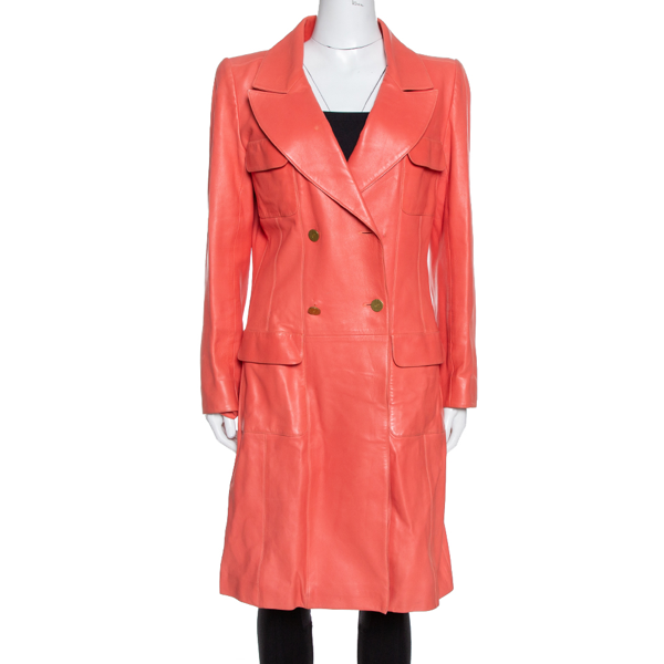 Pre-owned Chanel Coral Pink Leather Double Breasted Trench Coat L