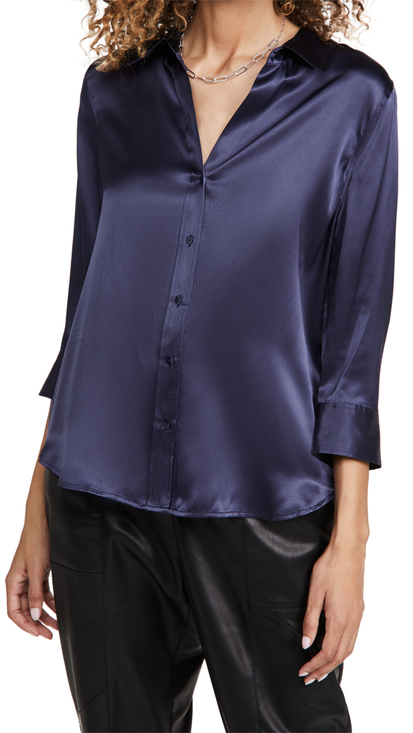 L Agence Women's Dani Silk Three-quarter Sleeve Blouse In Medieval Blue