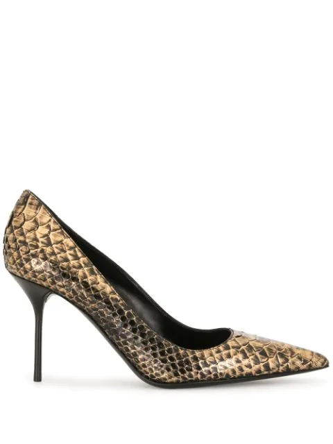 Tom Ford 85mm Crocodile-effect Pumps In Gold