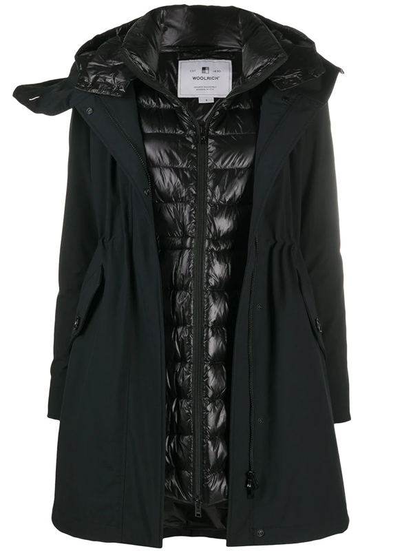 Woolrich Layered Padded Parka In Black