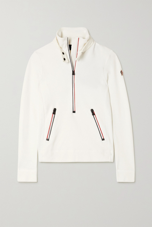 Moncler Grenoble Shell-trimmed Fleece Top In White