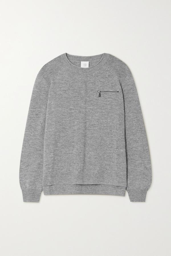 Bogner Gill Zip-detailed Mélange Wool Sweater In Gray