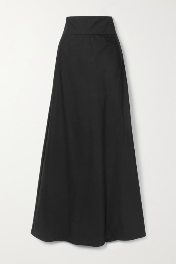 Kalita Inky Cotton-poplin Maxi Skirt In Black