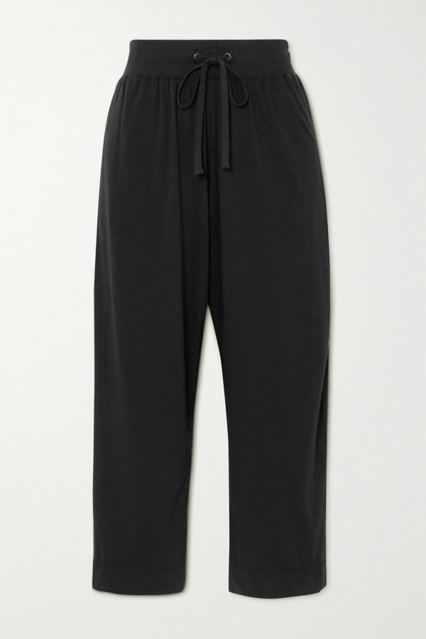 James Perse Lotus Cotton-jersey Track Pants In Black