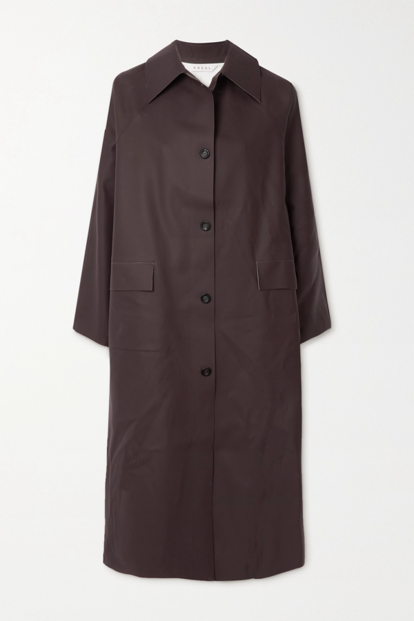 Kassl Editions Original Coated Trench Coat In Chocolate