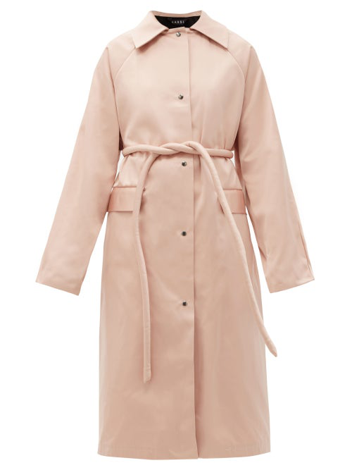Kassl Editions Original Belted Satin Trench Coat In Baby Pink