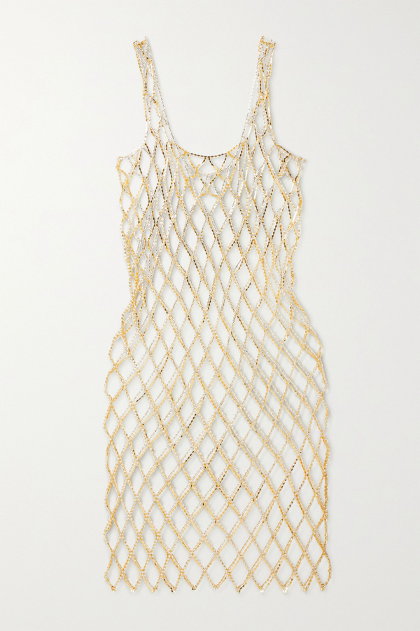 Area Crystal-embellished Chainmail Midi Dress In Gold