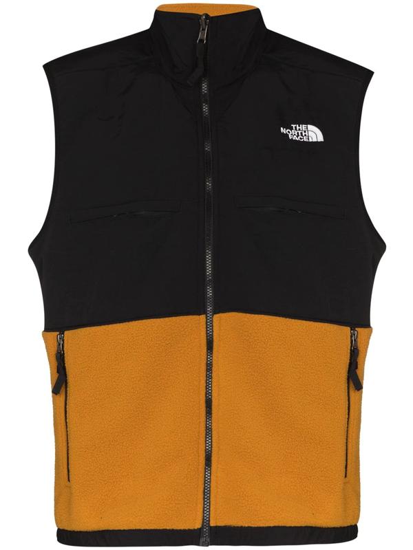 The North Face Black And Orange Denali Zipped Gilet