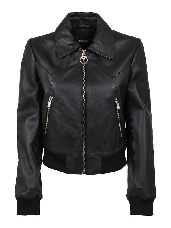 Pinko Ridge Leather Jacket In Black