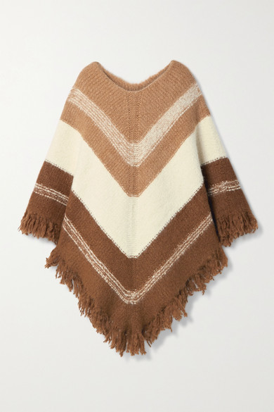 Nili Lotan Ellery Fringed Striped Alpaca-blend Poncho In Brown