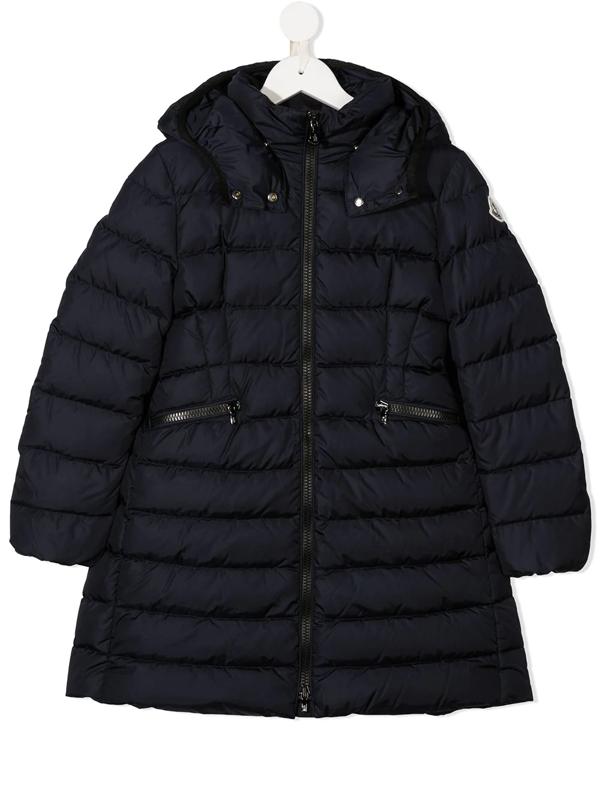 Moncler Kids' Hooded Padded Coat In Blue