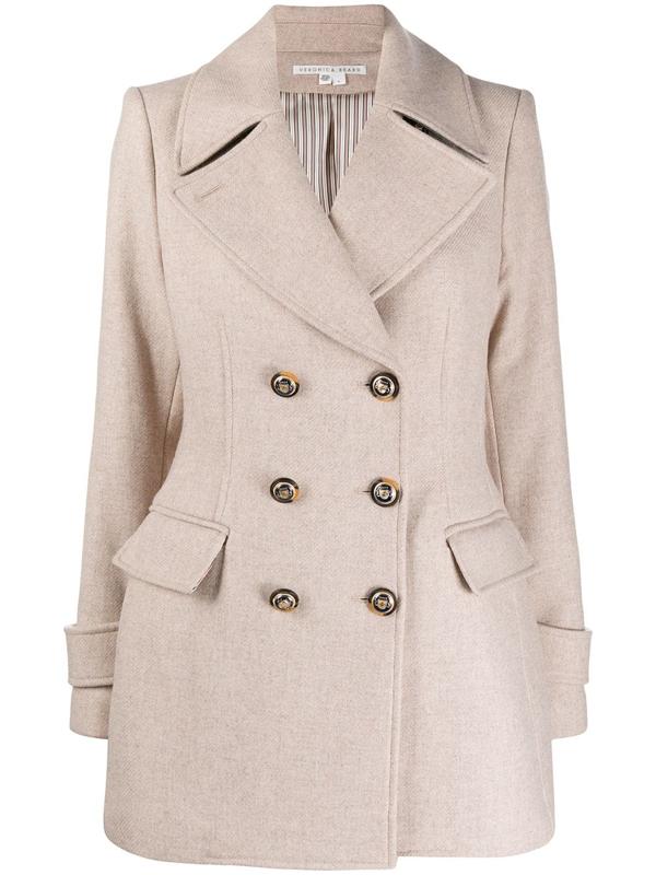 Veronica Beard Regina Cream Double-breasted Wool-blend Coat In Neutrals