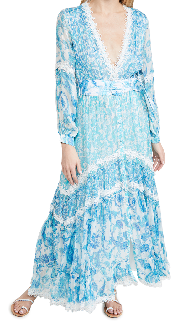 Rococo Sand Belted Sleeveless Maxi Dress In Blue