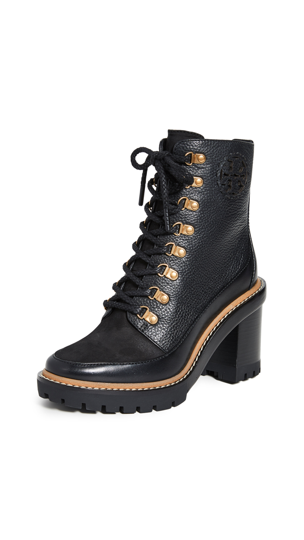 Tory Burch Women's Miller Lug-sole Leather Hiking Boots In Perfect Black/perfect Blac