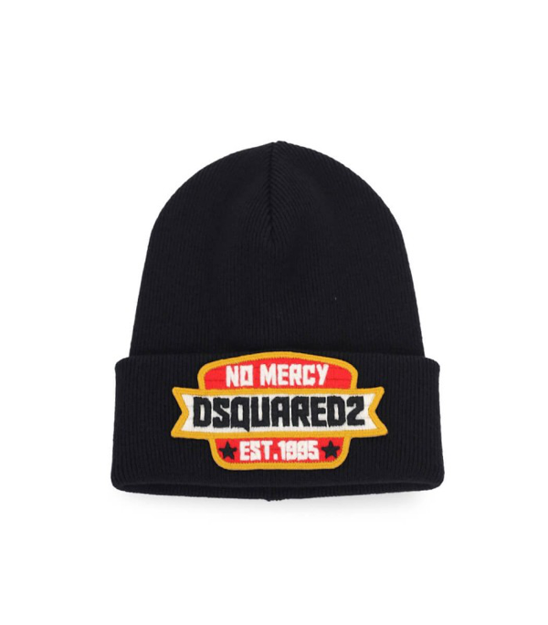 Dsquared2 Black Beanie With Patch