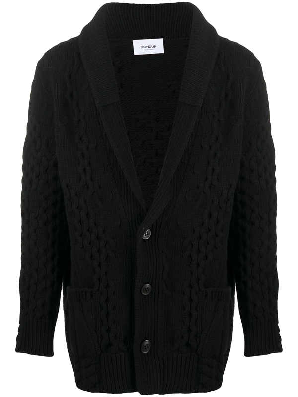 Dondup Merino Wool Oversized Cardigan In Black
