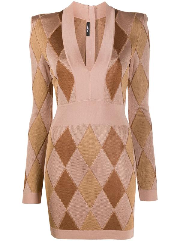 Balmain Women's Diamond Jacquard V-neck Mini Dress In Brown