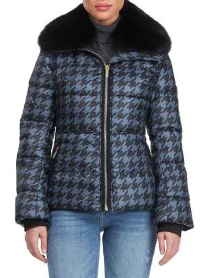 Gorski Women's Apres-ski Detchable Fox Fur Collar Houndstooth-print Puffer Jacket In Slate Black