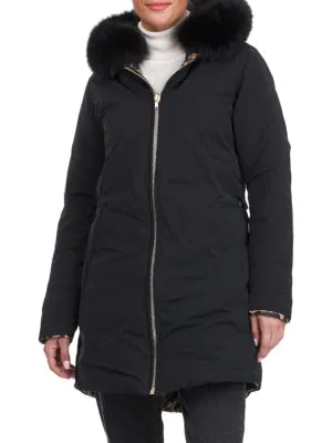 Gorski Women's Reversible Fox Fur-trim Hood Apres-ski Jacket In Black Leopard